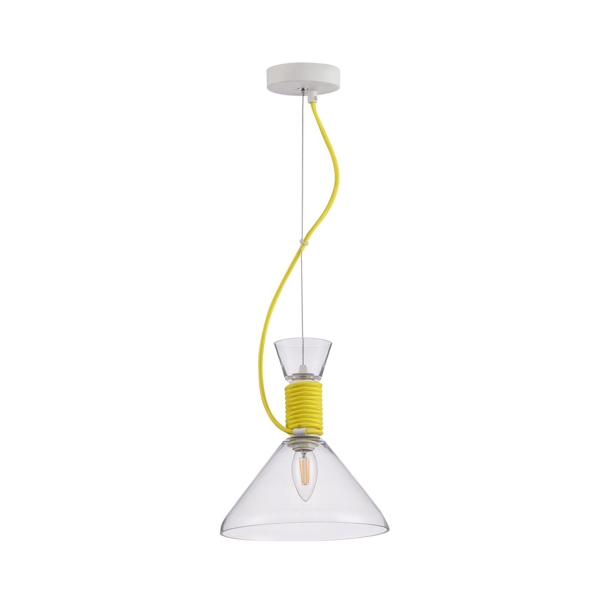 Подвесной светильник Maytoni Modern California P536PL-01YW, 1xE14x40W, белый, желтый, прозрачный, металл, стекло - фото 3