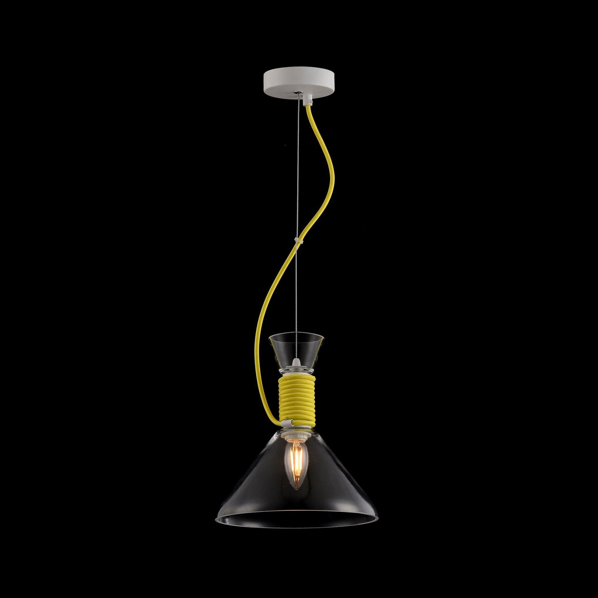 Подвесной светильник Maytoni Modern California P536PL-01YW, 1xE14x40W, белый, желтый, прозрачный, металл, стекло - фото 5