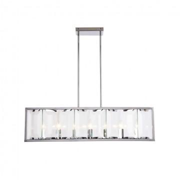 Потолочный светильник на составной штанге Maytoni Cerezo MOD202PL-07N, 7xE14x40W, никель, прозрачный, металл, стекло