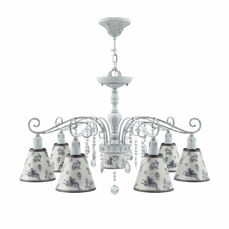 Потолочно-подвесная люстра Maytoni Provence 28 E4-07-G-LMP-O-8-CRL-E4-07-TR-DN, 7xE14x40W, серый, прозрачный, металл, текстиль, хрусталь