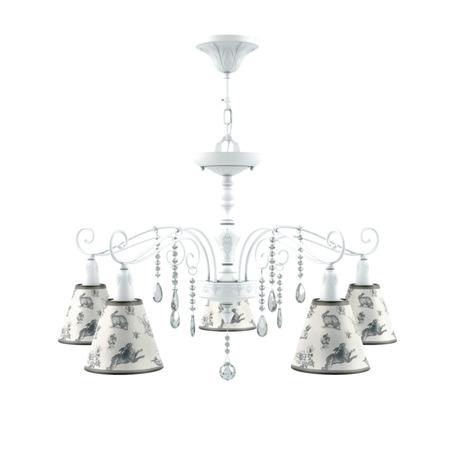 Потолочно-подвесная люстра Maytoni Provence 23 E4-05-WM-LMP-O-8-CRL-E4-05-TR-DN, 5xE14x40W, белый, белый с серым, серый с белым, прозрачный, металл, текстиль, хрусталь
