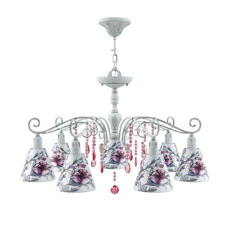 Потолочно-подвесная люстра Maytoni Provence 18 E4-07-G-LMP-O-13-CRL-E4-07-PK-DN, 7xE14x40W, серый, разноцветный, розовый, металл, текстиль, хрусталь