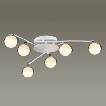 Потолочная люстра с регулировкой направления света Lumion Dondoo 3597/6C, 6xG9x40W, белый, хром, дымчатый, металл, стекло - миниатюра 3