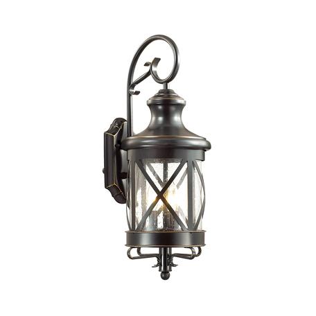 Настенный фонарь Odeon Light Sation 4045/3W, IP44, 3xE14x60W, черный с золотой патиной, прозрачный, металл, ковка, металл со стеклом