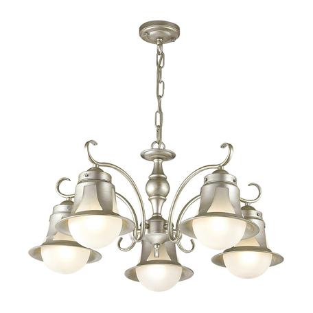 Подвесная люстра Lumion Arteana 3603/5, 5xE27x60W, серебро, белый, металл, стекло