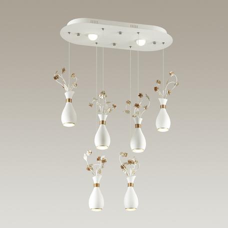 Подвесной светодиодный светильник Odeon Light Carolis 4035/36L 4000K (дневной), белый, золото, металл, пластик