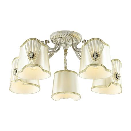 Потолочная люстра Lumion Buonaparta 3608/5C, 5xE14x40W, белый с золотой патиной, белый, металл, текстиль
