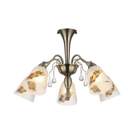 Потолочная люстра Lumion Paessaggio 3618/5C, 5xE14x60W, бронза, разноцветный, прозрачный, металл, стекло