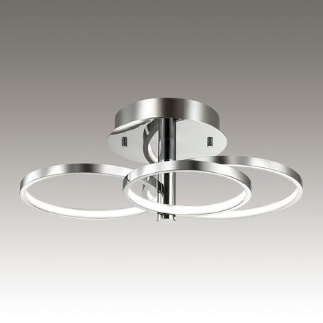 Потолочная светодиодная люстра Odeon Light Ringgi 3970/58L, LED 58W, 4000K (дневной), хром, металл, пластик