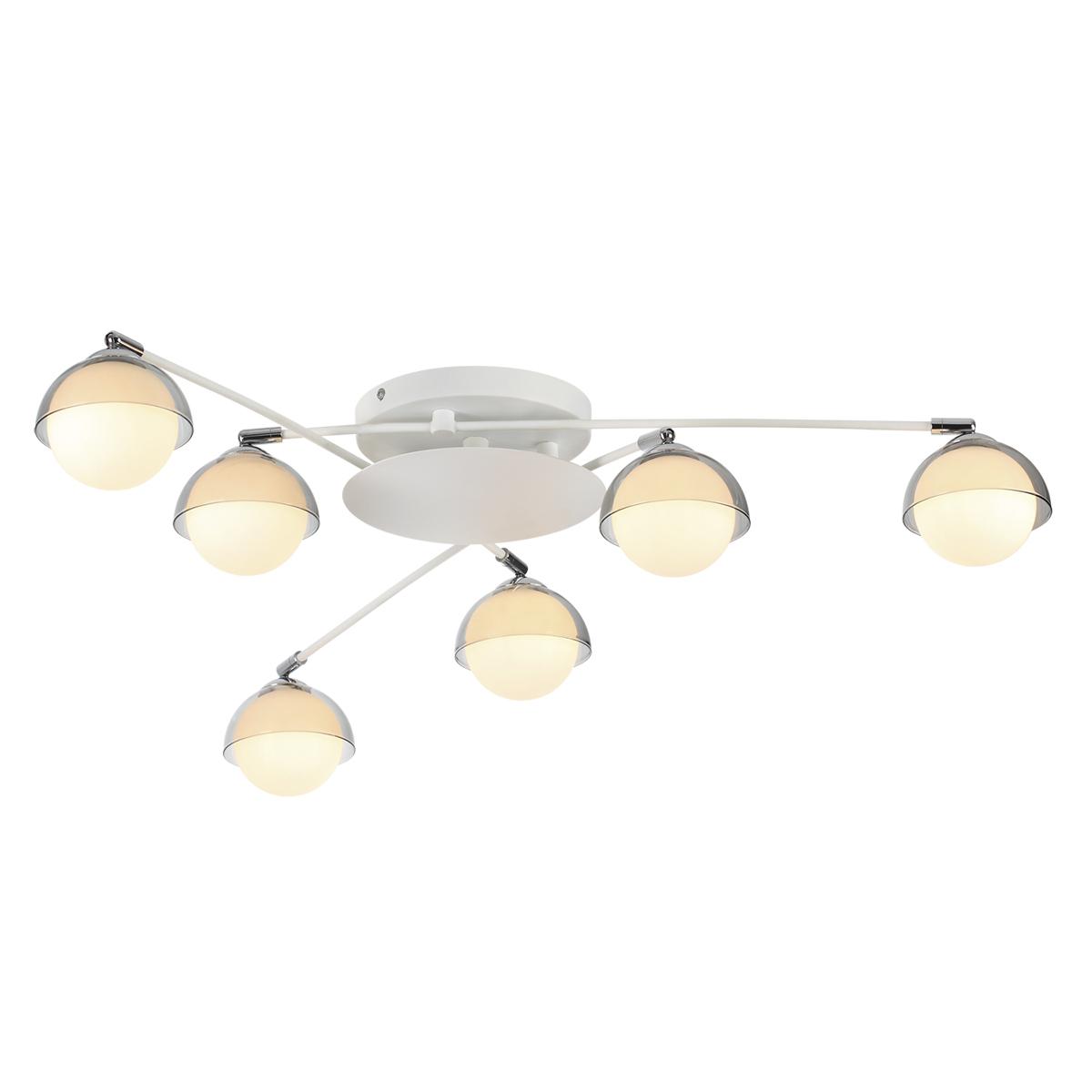 Потолочная люстра с регулировкой направления света Lumion Dondoo 3597/6C, 6xG9x40W, белый, хром, дымчатый, металл, стекло - фото 1
