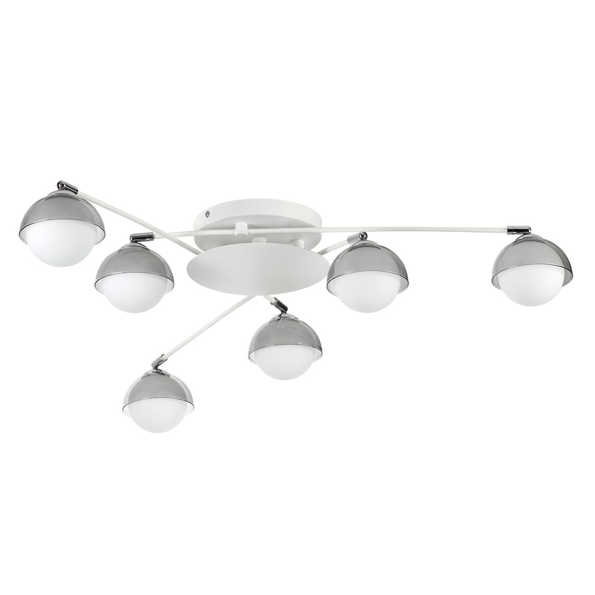 Потолочная люстра с регулировкой направления света Lumion Dondoo 3597/6C, 6xG9x40W, белый, хром, дымчатый, металл, стекло - фото 2