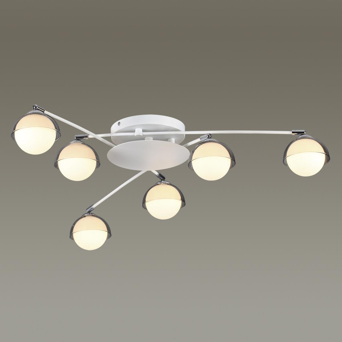 Потолочная люстра с регулировкой направления света Lumion Dondoo 3597/6C, 6xG9x40W, белый, хром, дымчатый, металл, стекло - фото 3