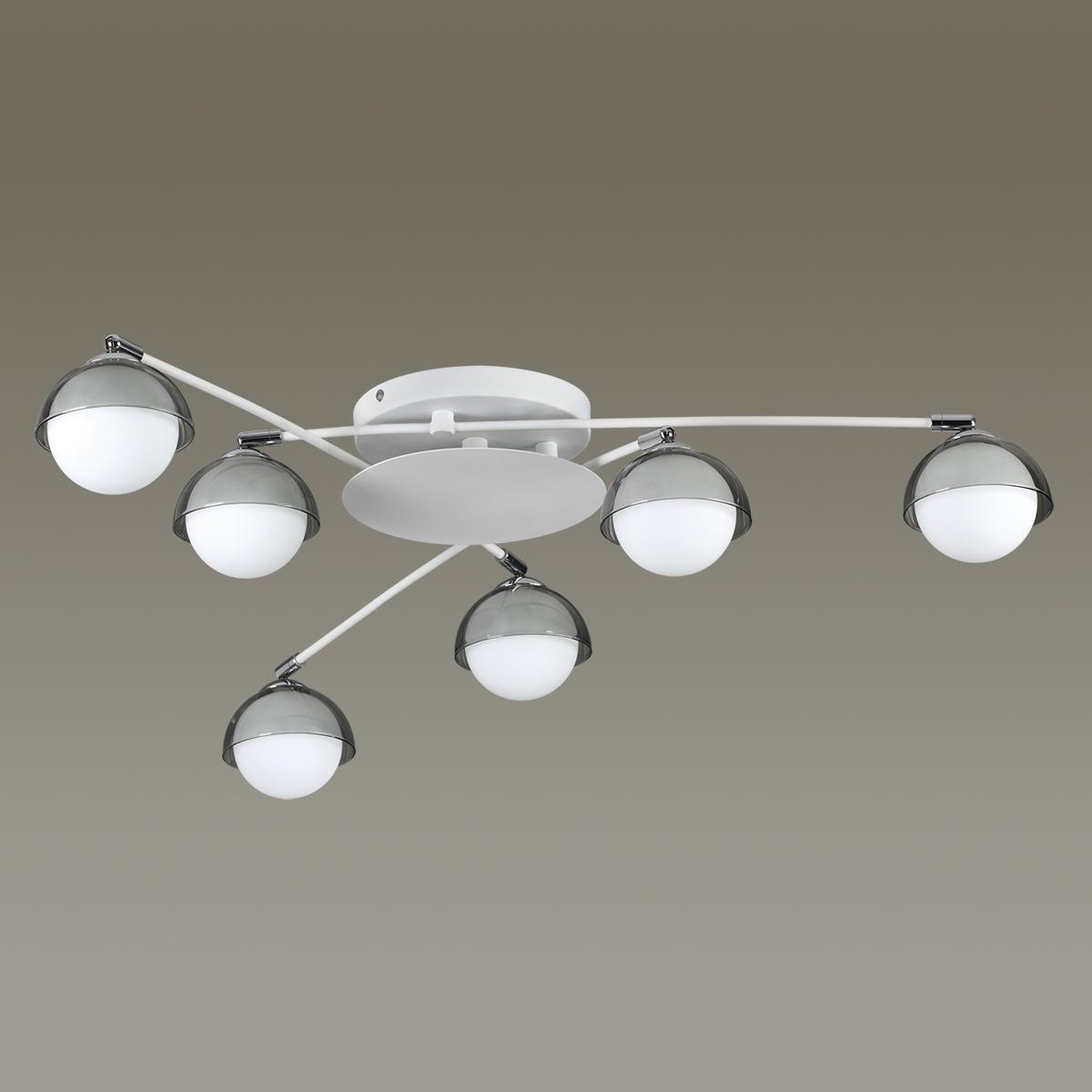 Потолочная люстра с регулировкой направления света Lumion Dondoo 3597/6C, 6xG9x40W, белый, хром, дымчатый, металл, стекло - фото 4