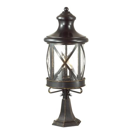 Садово-парковый светильник Odeon Light Sation 4045/3B, IP44, 3xE14x60W, черный, прозрачный, металл, ковка, металл со стеклом