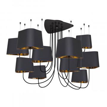 Люстра-паук Loft It Nuage LOFT1167-10BL, 10xE27x40W, черный, черный с золотом, металл, текстиль