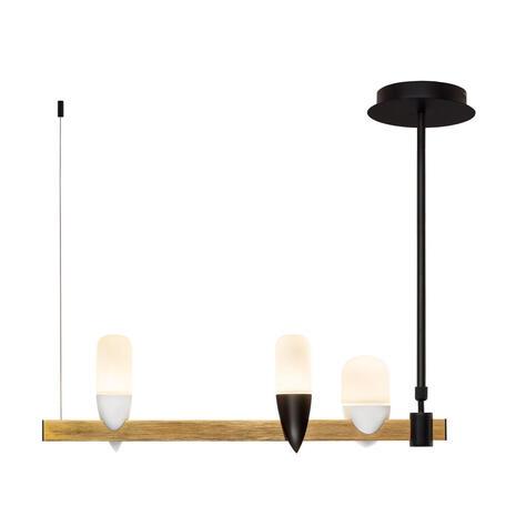 Подвесной светодиодный светильник Loft It Whisper 1028-3BL, LED 15W 3000K, черный с золотом, белый, металл, стекло