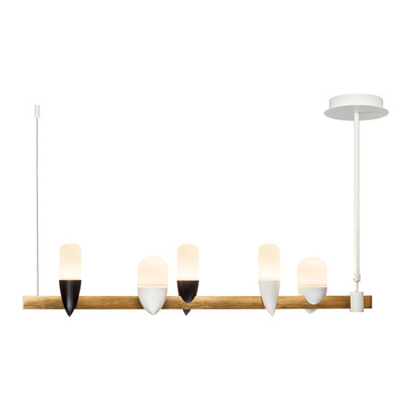Подвесной светодиодный светильник Loft It Whisper 1028-5WH, LED 25W 3000K, матовое золото с белым, белый, металл, стекло