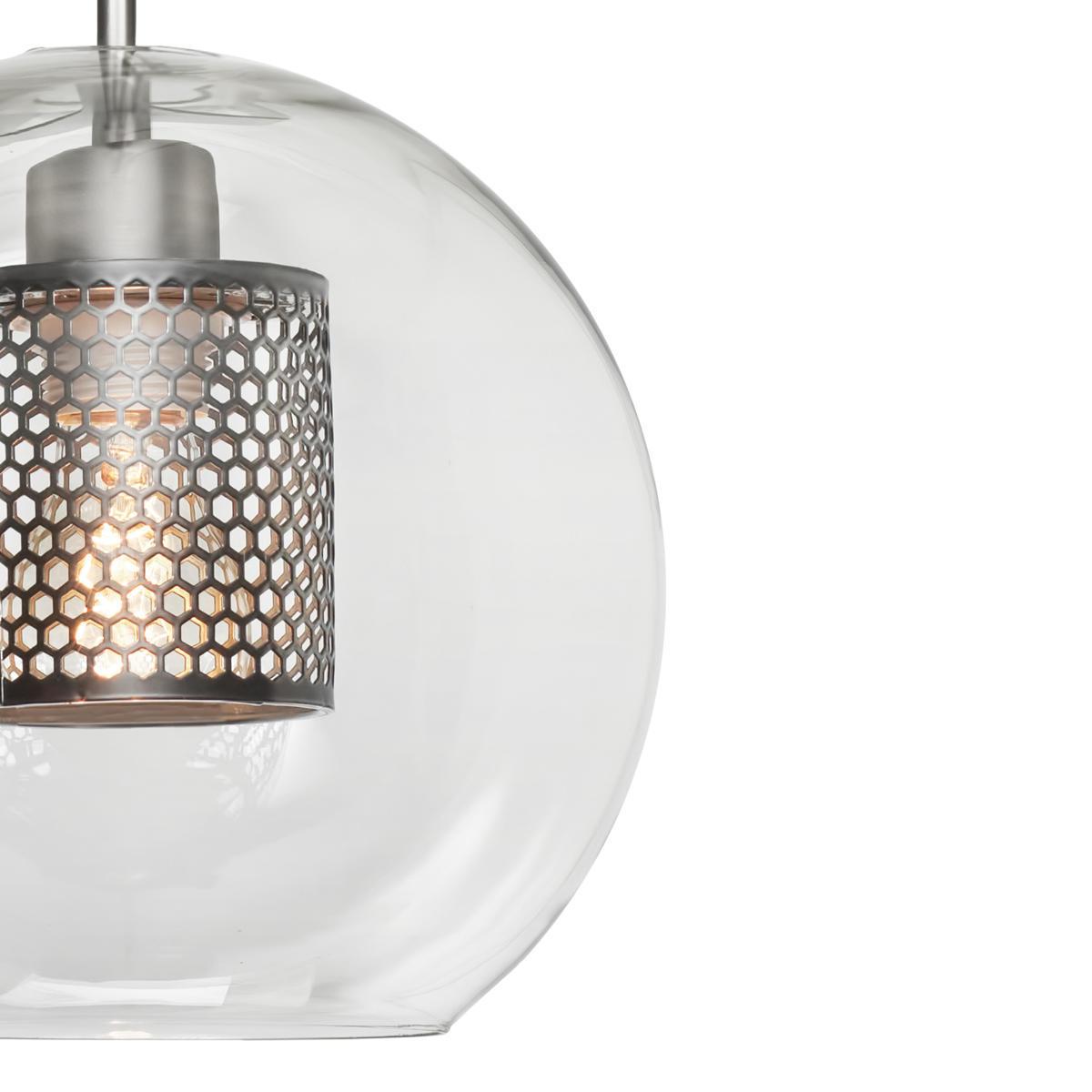 Подвесной светильник Loft It Hexagon LOFT2567-B, 1xE27x60W, никель, никель с прозрачным, металл, стекло с металлом - фото 2