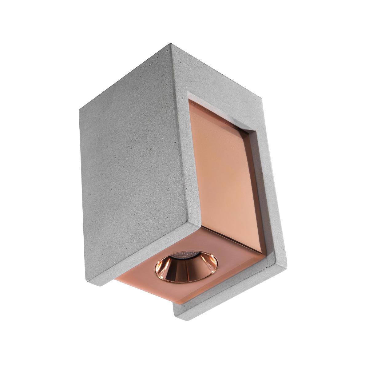 Потолочный светодиодный светильник Loft It Architect OL1073-GG, LED 6W 3000K 260lm, серый с золотом, бетон с металлом - фото 1
