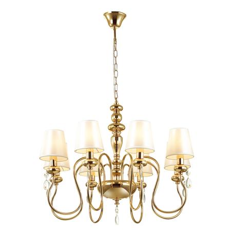Подвесная люстра Odeon Light Classic Meki 4723/8, 8xE14x40W, золото, белый, прозрачный, металл, текстиль, хрусталь