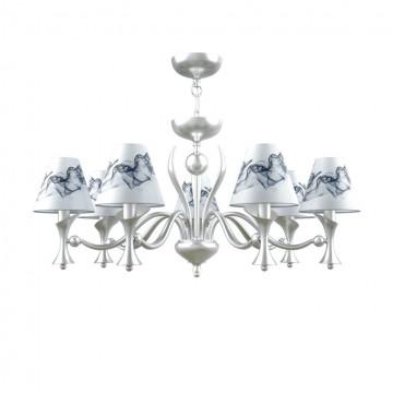 Потолочно-подвесная люстра Maytoni Modern 12 M3-07-CR-LMP-O-10, 7xE14x40W, матовый хром, белый, серый, металл, текстиль