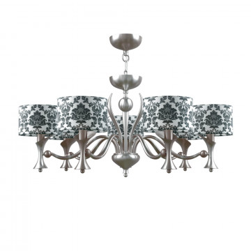 Потолочно-подвесная люстра Maytoni Lamp4You Modern 10 M3-07-DN-LMP-Y-2, 7xE14x40W, никель, черный с белым, металл, текстиль