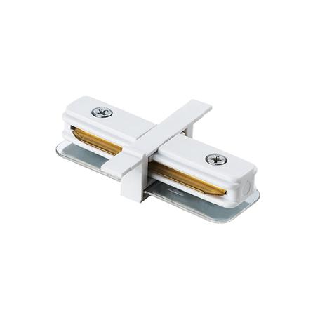 Прямой соединитель для шинопровода Lightstar Barra 501106, белый, пластик