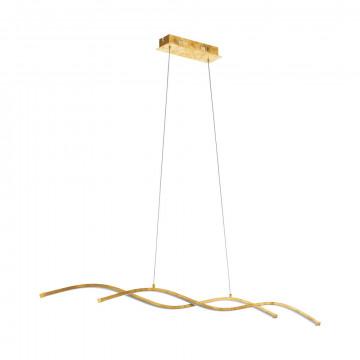 Подвесной светодиодный светильник Eglo Miraflores 97837, LED 26W 3000K 3400lm, матовое золото, металл, металл с пластиком, пластик