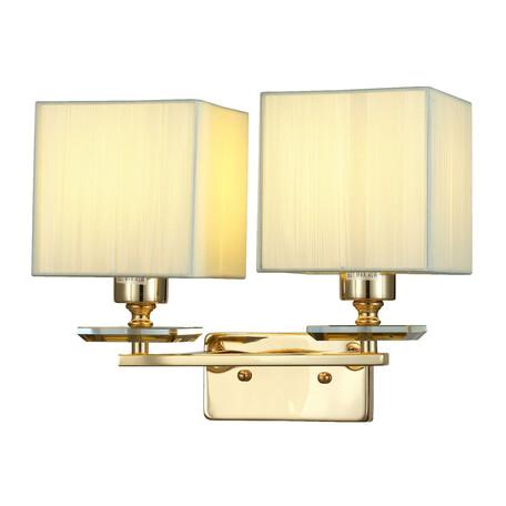 Бра Lumina Deco Liniano LDW 17100-2 GD, 2xE14x40W, бежевый, текстиль