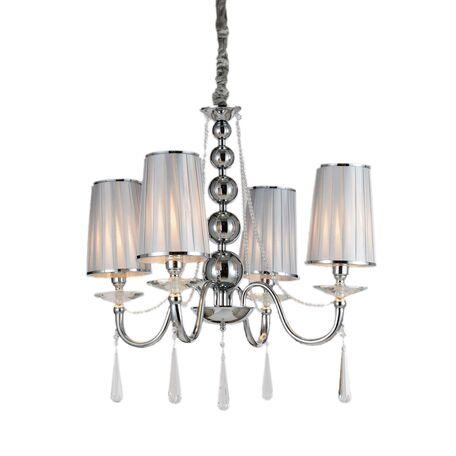 Подвесная люстра Lumina Deco Fabione LDP 1200-4 CHR, 4xE14x40W, серебро, прозрачный, текстиль, хрусталь