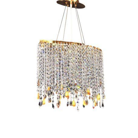 Подвесная люстра Lumina Deco Santosa LDP 7051-4A GD, 4xG9x40W, золото, прозрачный, металл, хрусталь