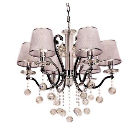 Подвесная люстра Lumina Deco Bellisica LDP 8033-6 SL, 6xE14x40W, серебро с хромом, прозрачный, текстиль, хрусталь