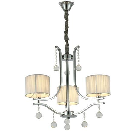 Подвесная люстра Lumina Deco Fontenea LDP 8443-3 CHR, 3xE14x40W, серебро, прозрачный, текстиль, хрусталь