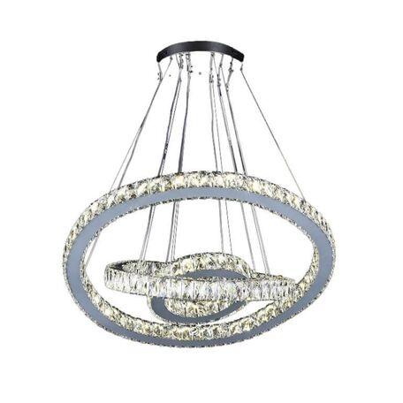 Подвесной светодиодный светильник Lumina Deco Pentola DDP 6797-500, LED 188W, прозрачный с хромом, хрусталь