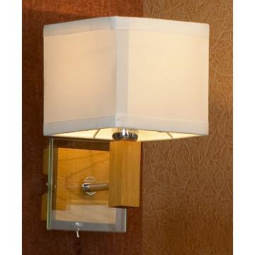 Бра Lussole Montone LSF-2501-01, IP21, 1xE14x40W, коричневый, белый, дерево, стекло, текстиль