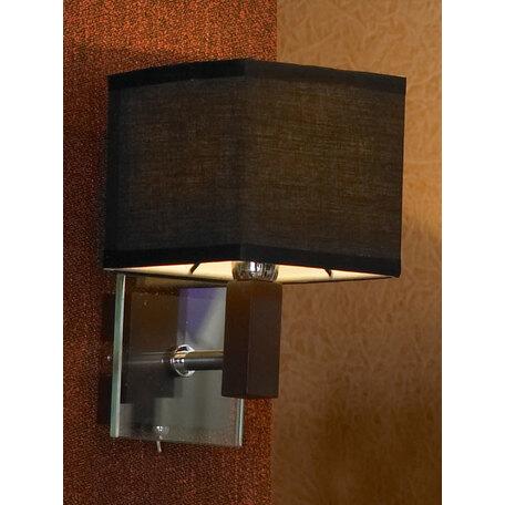 Бра Lussole Montone LSF-2571-01, IP21, 1xE14x40W, венге, хром, черный, дерево, стекло, текстиль