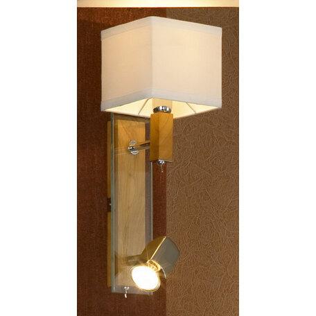 Бра с дополнительной подсветкой Lussole Montone LSF-2501-02, IP21, 1xE14x40W +  1xGU10x50W, коричневый, белый, дерево, стекло, текстиль