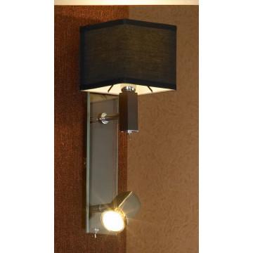 Бра с дополнительной подсветкой Lussole Montone LSF-2571-02, IP21, 1xE14x40W +  1xGU10x50W, венге, хром, черный, дерево, стекло, текстиль