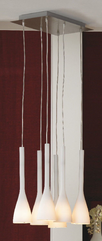 Люстра-каскад Lussole Loft Varmo LSN-0106-06, IP21, 6xE14x40W, никель, белый, металл, стекло - фото 1