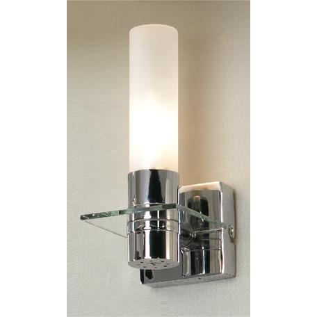 Настенный светильник Lussole Loft Liguria LSL-5901-01, IP44, 1xE14x40W, хром, белый, металл, стекло