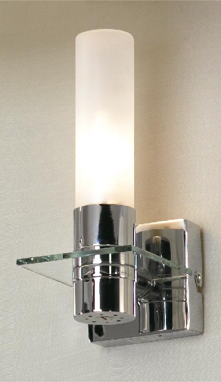 Настенный светильник Lussole Loft Liguria LSL-5901-01, IP44, 1xE14x40W, хром, белый, металл, стекло - фото 1