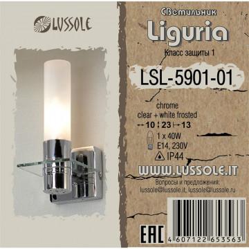 Настенный светильник Lussole Loft Liguria LSL-5901-01, IP44, 1xE14x40W, хром, белый, металл, стекло - миниатюра 2
