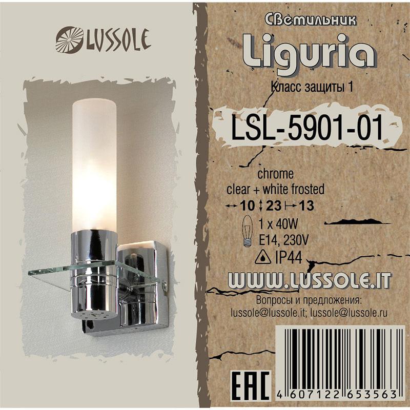 Настенный светильник Lussole Loft Liguria LSL-5901-01, IP44, 1xE14x40W, хром, белый, металл, стекло - фото 2