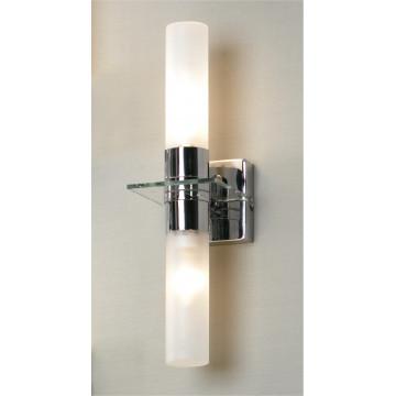 Настенный светильник Lussole Loft Liguria LSL-5901-02, IP44, 2xE14x40W, хром, белый, металл, стекло