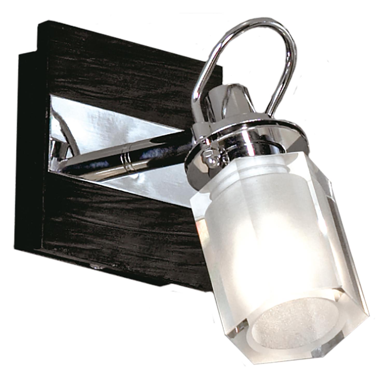 Настенный светильник с регулировкой направления света Lussole Abruzzi LSL-7901-01, IP21, 1xG9x40W, черный, белый, металл с пластиком, стекло - фото 1
