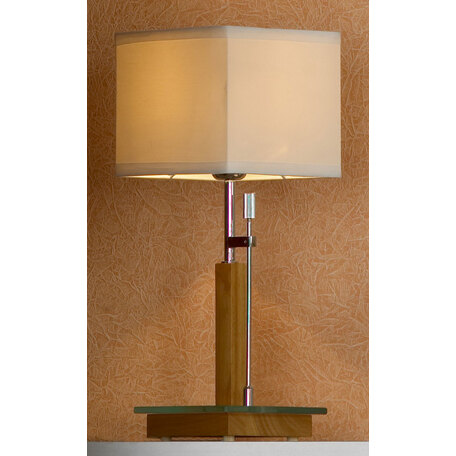 Настольная лампа Lussole Montone LSF-2504-01, IP21, 1xE27x60W, коричневый, белый, дерево, стекло, текстиль