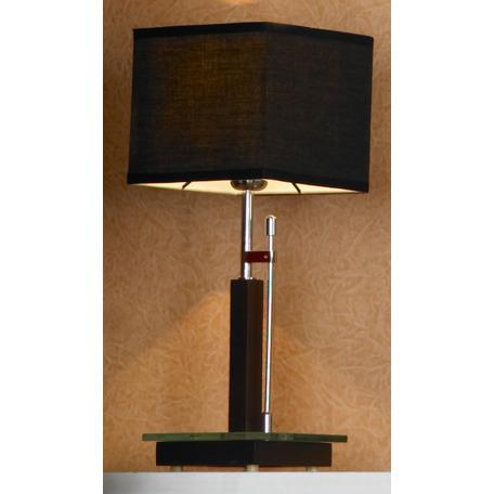 Настольная лампа Lussole Montone LSF-2574-01, IP21, 1xE27x60W, венге, хром, черный, дерево, стекло, текстиль
