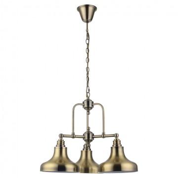 Подвесная люстра Lussole Loft Sona LSL-3003-03, IP21, 3xE27x60W, бронза, металл