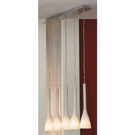 Подвесной светильник Lussole Loft Varmo LSN-0106-05, IP21, 5xE14x40W, никель, белый, металл, стекло