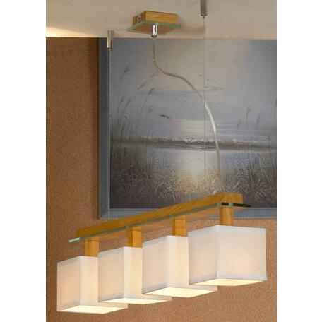 Подвесной светильник Lussole Montone LSF-2503-04, IP21, 4xE14x40W, коричневый, белый, дерево, стекло, текстиль